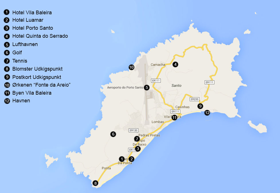 Porto Santo Onsker Du Et Kort Over Oen Porto Santo Primo Tours
